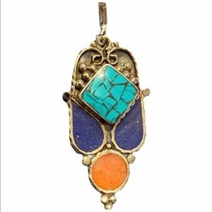 """Turquoise, Red Coral, Lapis Sterling Pendant, 2.5"""""""